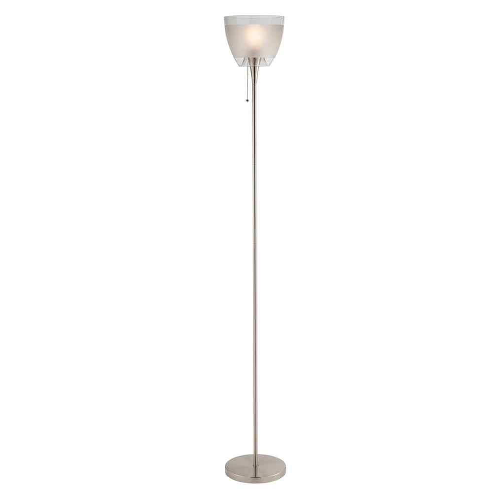Adesso Empire 72 in. Satin Nickel Floor Lamp-DISCONTINUED