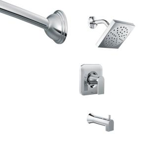 Moen Genta Single-Handle 1-Spray Tub and Shower Faucet in Chrome with Shower Rod... by MOEN