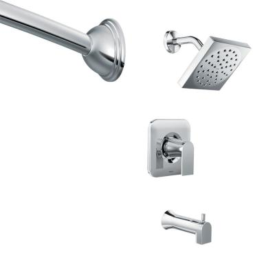 Genta Single-Handle 1-Spray Tub and Shower Faucet in Chrome with Shower Rod (Valve Included)