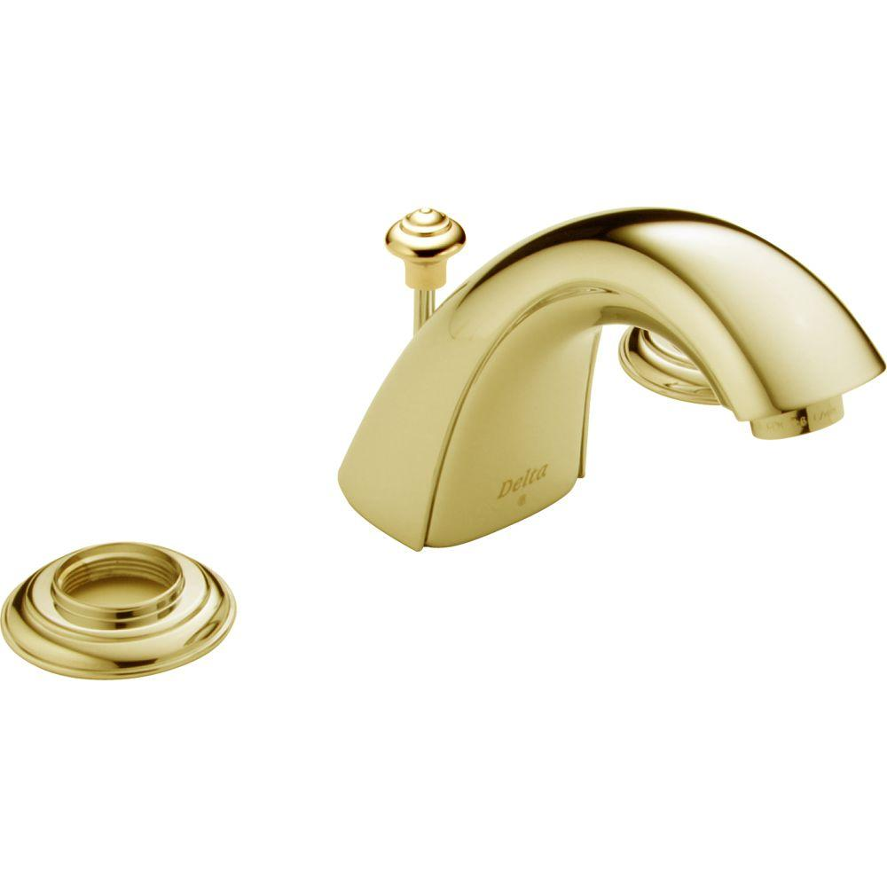 Delta Innovations 8 in. Widespread 2-Handle Mid-Arc Bathroom Faucet in Polished Brass-DISCONTINUED