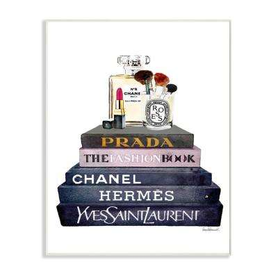 "10 in. x 15 in. ""Glam Fashion Book Stack Grey Bow Pump Heels Ink"" by Amanda Greenwood Printed Wood Wall Art"
