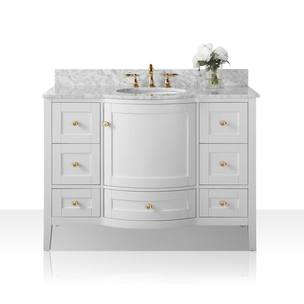Magnificent Ancerre Designs Lauren 48 In W X 22 In D Bath Vanity In White With Marble Vanity Top In White With White Basin Download Free Architecture Designs Pendunizatbritishbridgeorg