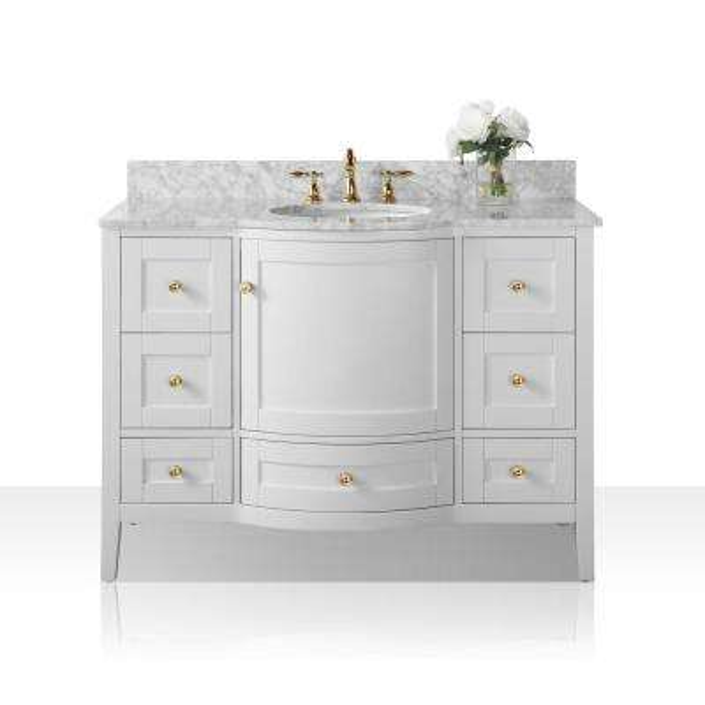 Lauren 48 in. W x 22 in. D Bath Vanity in White with Marble Vanity Top in White with White Basin