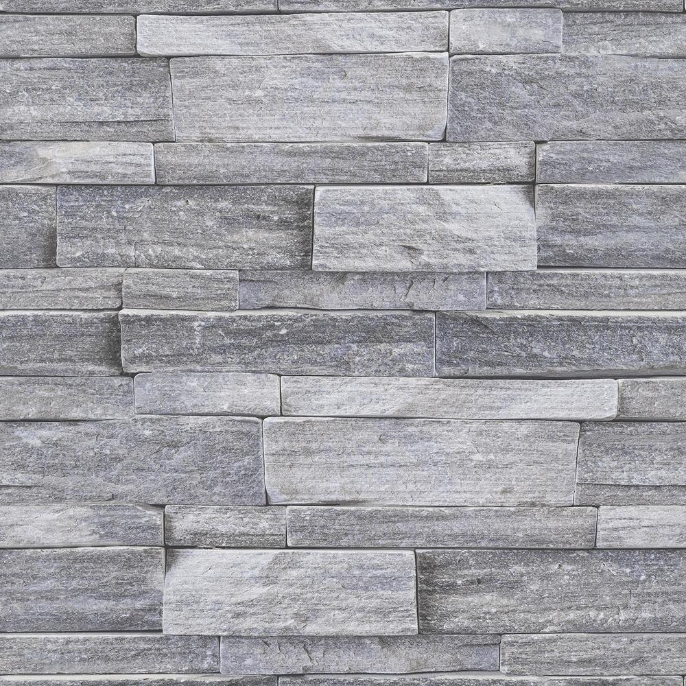 Strata Stone Wall Grey Removable Wallpaper