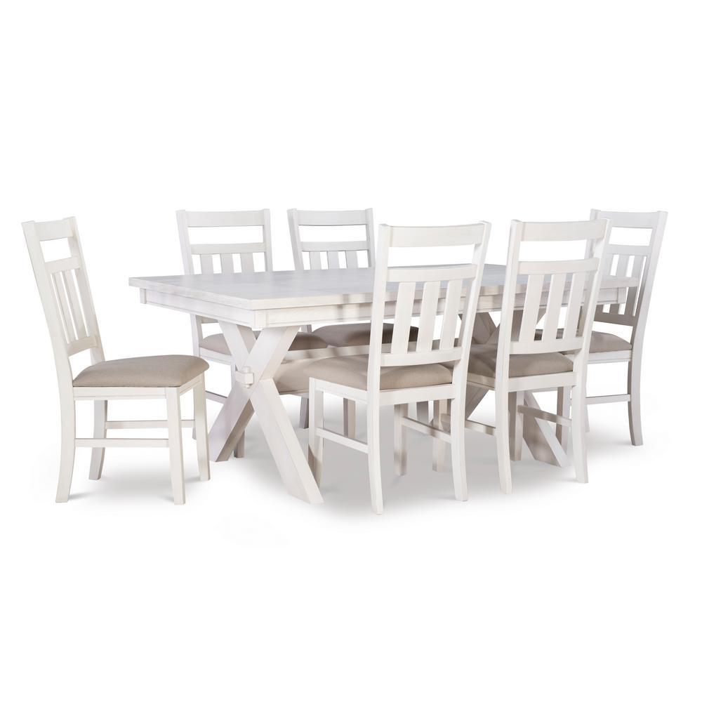 Krause Distressed White 7 PC Dining Set