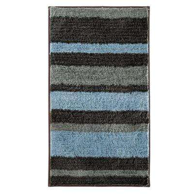 Stripz 34 in. x 21 in. Bath Rug in Mocha/Gray