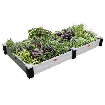 48 in. x 91 in. x 10 in. Maintenance Free Black and Gray Vinyl Raised Garden Bed
