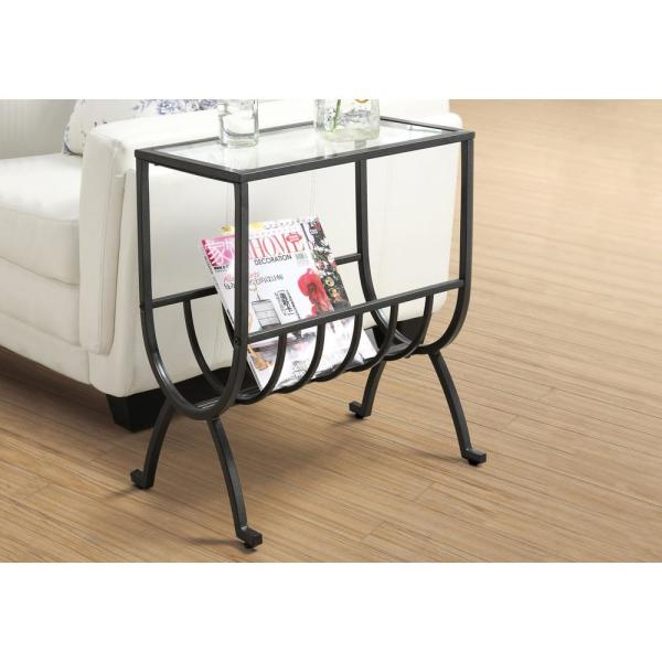 Brown Metal End Table with Magazine Rack