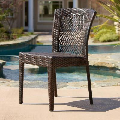 Dusk Multi Brown Wicker Outdoor  Dining Chairs (Set of 2)