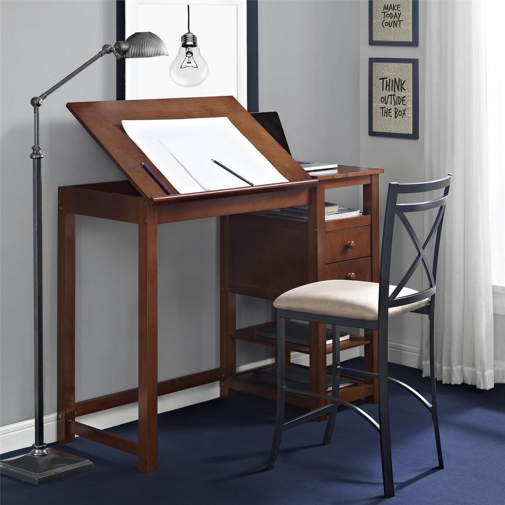 Dorel Living Espresso Drafting And Craft Counter Height Desk Fa3514