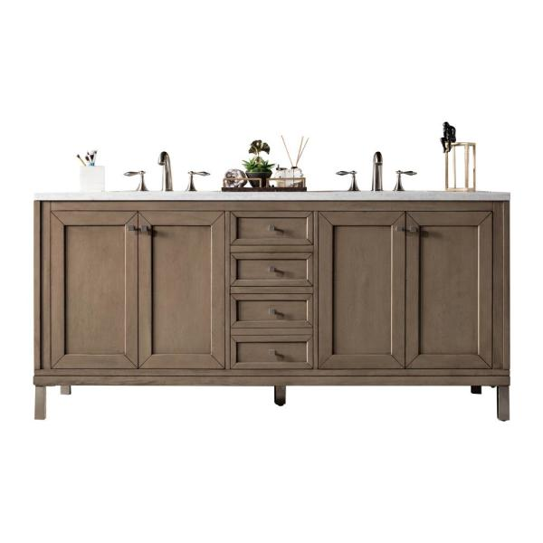 Chicago 72 in. W Double Bath Vanity in Whitewashed Walnut with Marble Vanity Top in Carrara White with White Basin