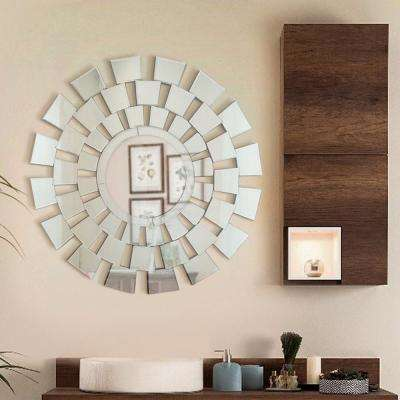 The Four Seasons 31.5 in. L x 31.5 in. W Stylish Round Frameless Decorative Mirror Design