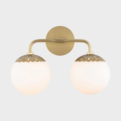 Henry 2-Light Aged Brass Bath Light with Opal Glossy Glass Shade