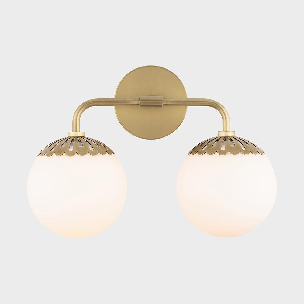 Mitzi by Hudson Valley Lighting Paige 2-Light Aged Brass Bath Light with Opal Glossy Glass Shade