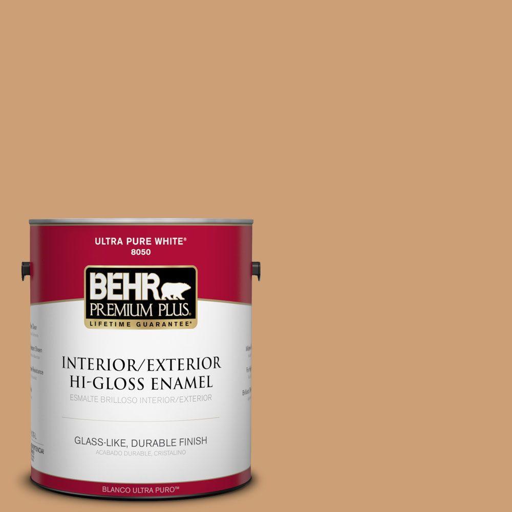BEHR Premium Plus 1-gal. #S250-4 Fresh Croissant Hi-Gloss Enamel Interior/Exterior Paint
