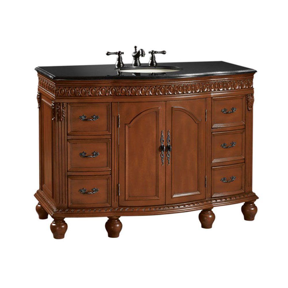 Home Decorators Collection Kendall 48 in. W x 22 in. D Vanity in Antique Cherry with Granite Vanity Top in Black