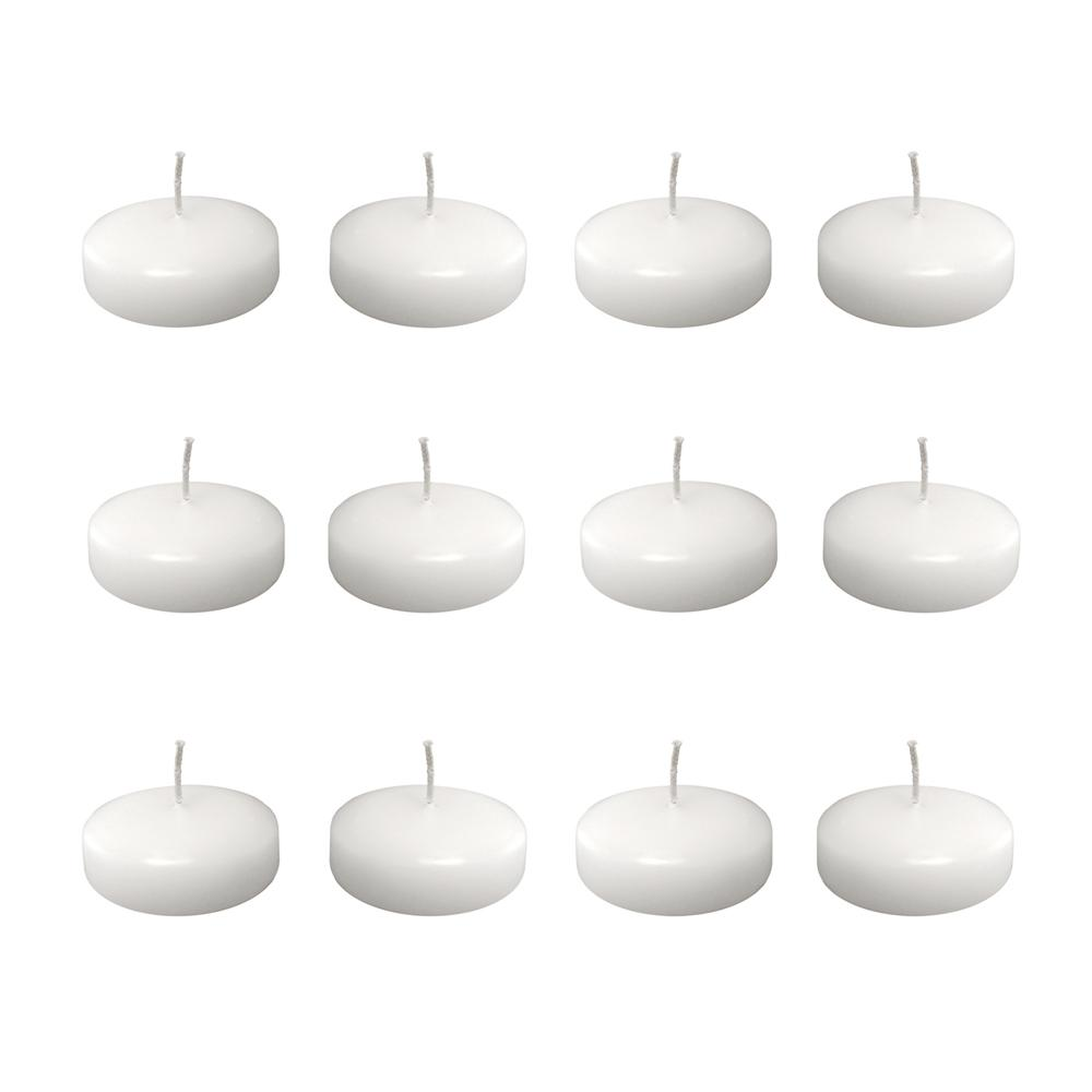 1 in. x 1.375 in. Medium White Floating Wax Candles (Box