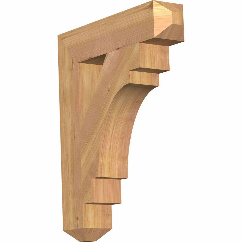 Ekena Millwork 3.5 in. x 22 in. x 18 in. Western Red Cedar Merced Craftsman Smooth Bracket