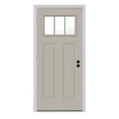 Craftsman 3 Lite Painted Steel Prehung Front Door
