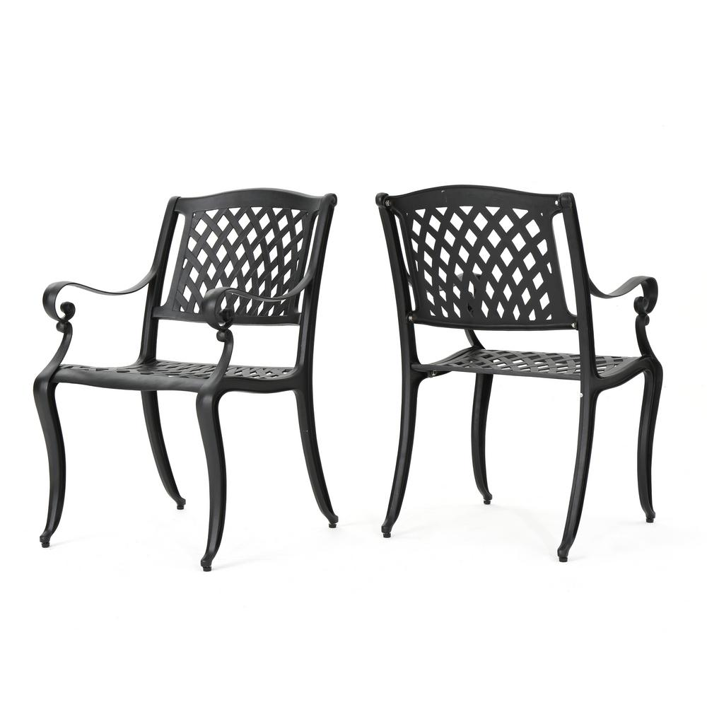 Noble House Hallandale Black 2-Pack Aluminum Outdoor Dining Chair