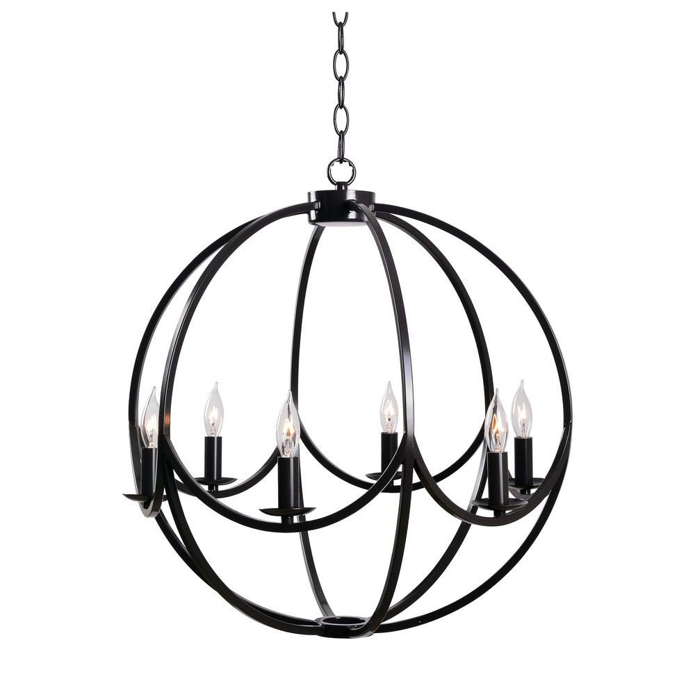 Kenroy home onyx 6 light bronze chandelier 93916bl the home depot kenroy home onyx 6 light bronze chandelier aloadofball