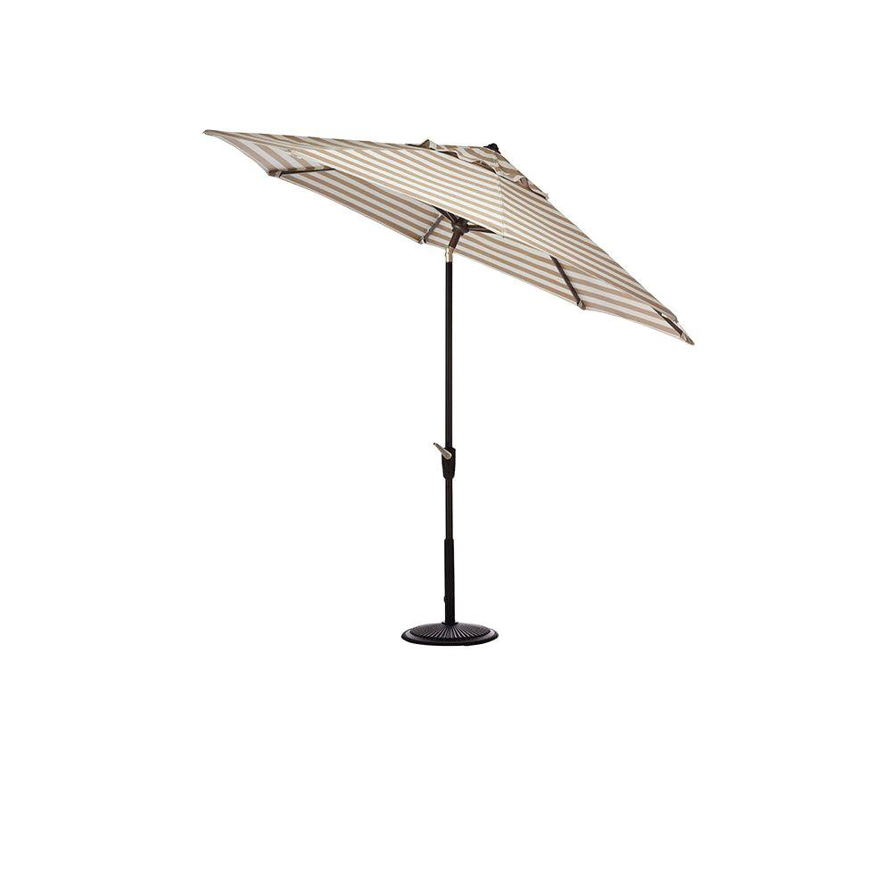 Home Decorators Collection 6.5 ft. x 10 ft. Auto-Tilt Patio Umbrella in Maxim Heather Beige Sunbrella with Black Frame