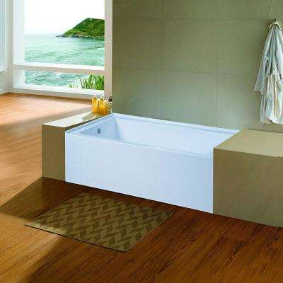 60 in. Acrylic Left Hand Drain Rectangular Alcove Apro Front Non-Whirlpool Bathtub in White