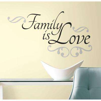 10 in. X 18 in. Family is Love 12-Piece Peel and Stick Wall Decals