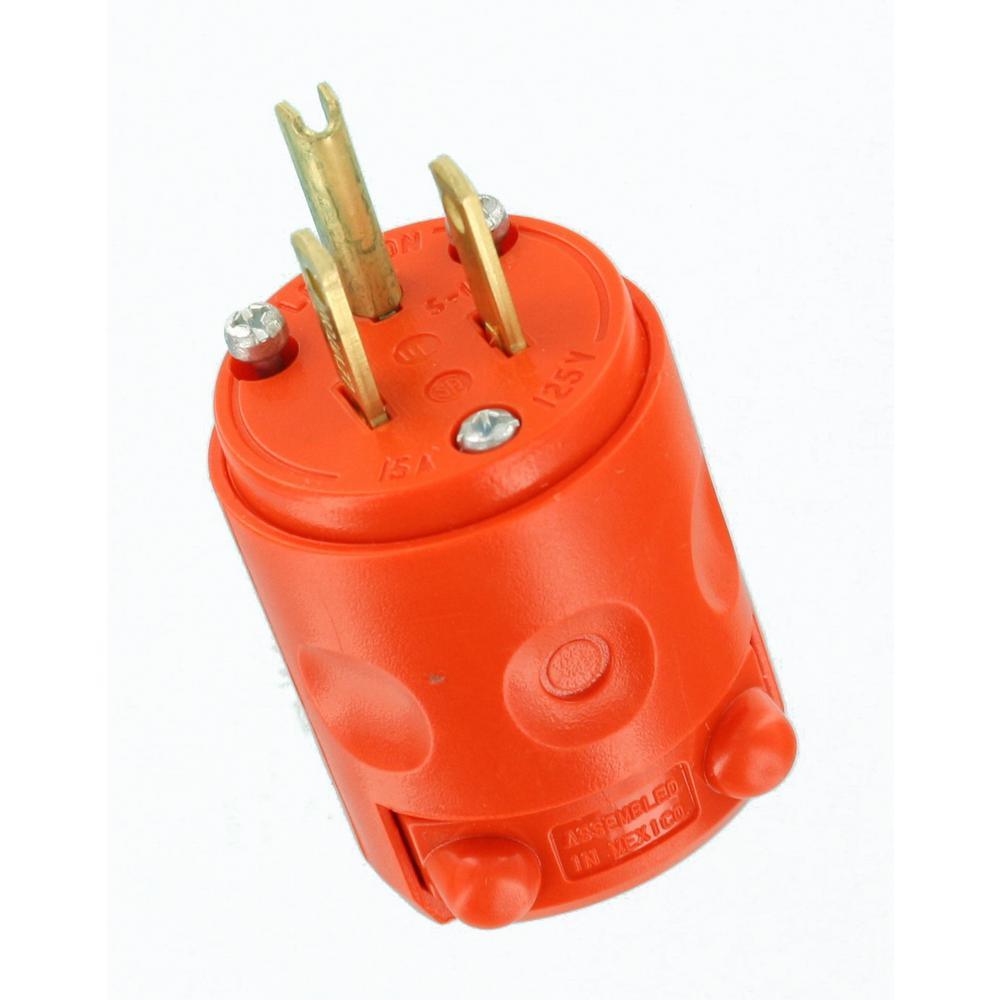Leviton 15 Amp 125-Volt 3-Wire Plug, Orange-R51-515PV-0OR - The Home Depot