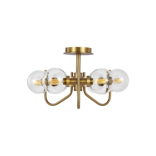 ED Ellen DeGeneres Crafted by Generation Lighting Verne 6-Light Burnished Brass Semi-Flush Mount with Clear Glass Shades