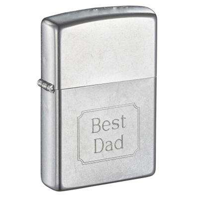 """Zippo """"Best Dad"""" Street Chrome Father's Day Lighter"""