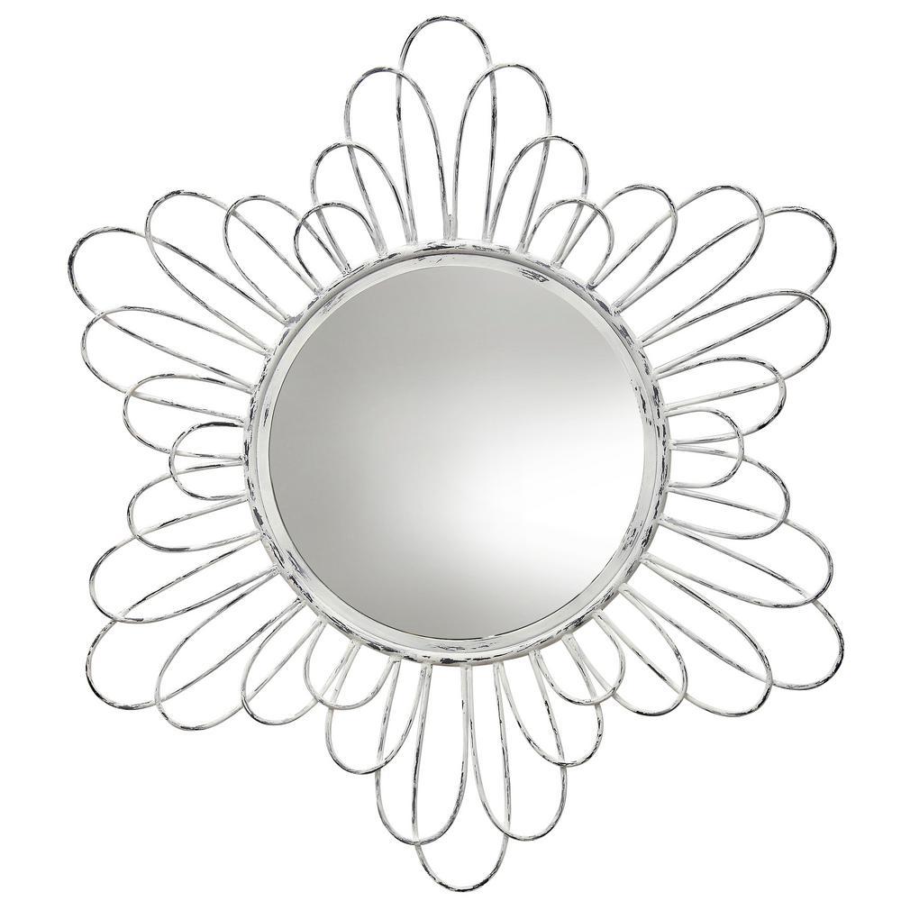 StyleCraft Transitional White Wash, Mirror Metal, Mirror Wall Mirror was $152.99 now $73.52 (52.0% off)