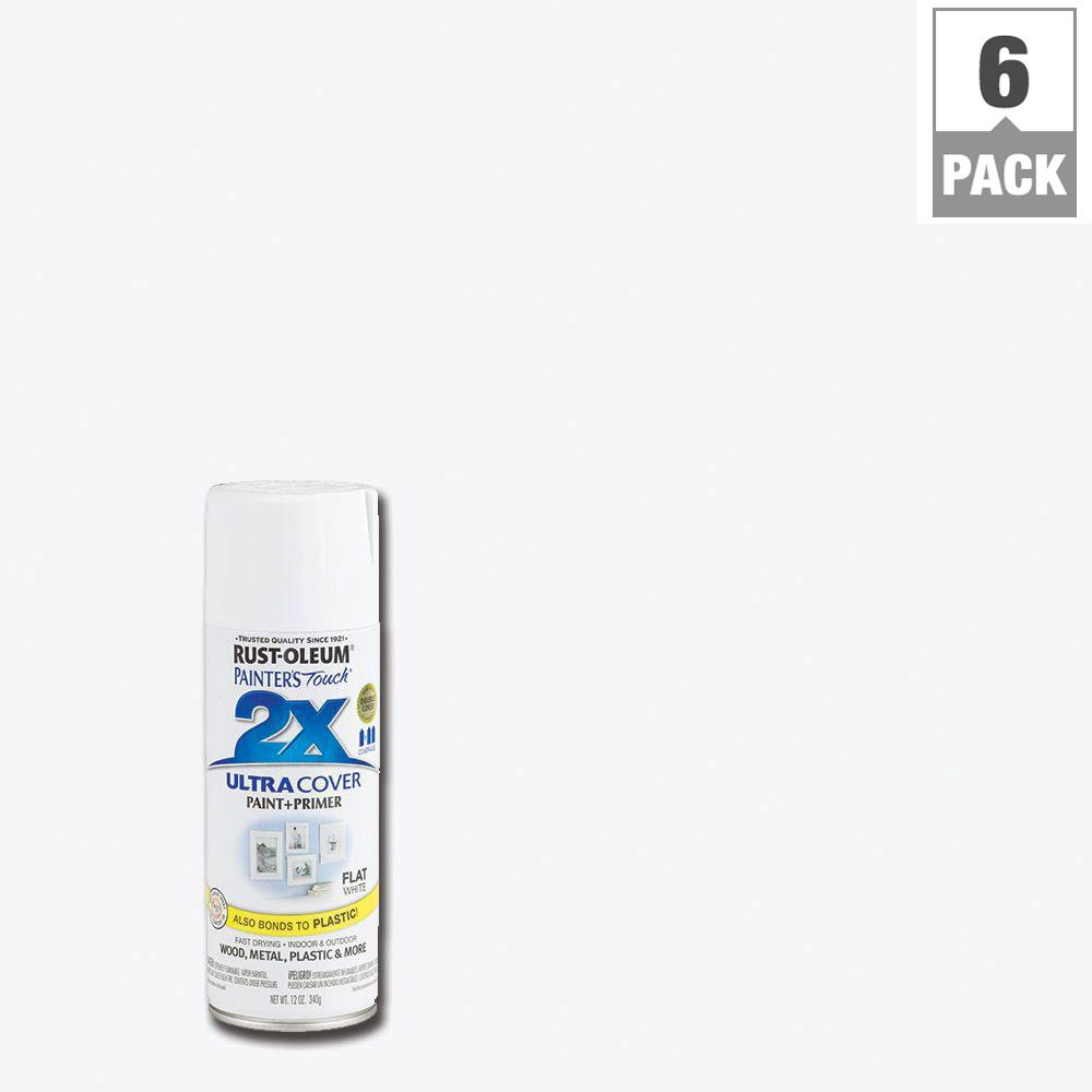 Rust-Oleum Painter's Touch 2X 12 oz. White Flat General Purpose Spray Paint (6-Pack)