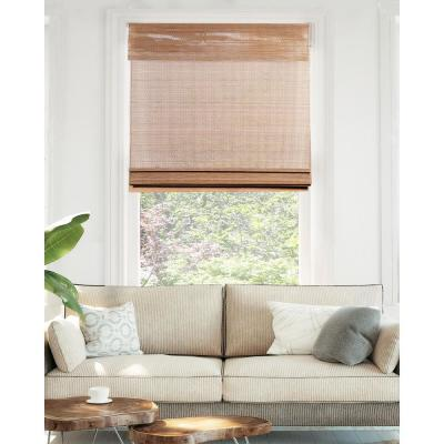 Premium True-to-Size Brown Acorn Cordless Light Filtering Natural Woven Bamboo Roman Shade 34 in. W x 64 in. L