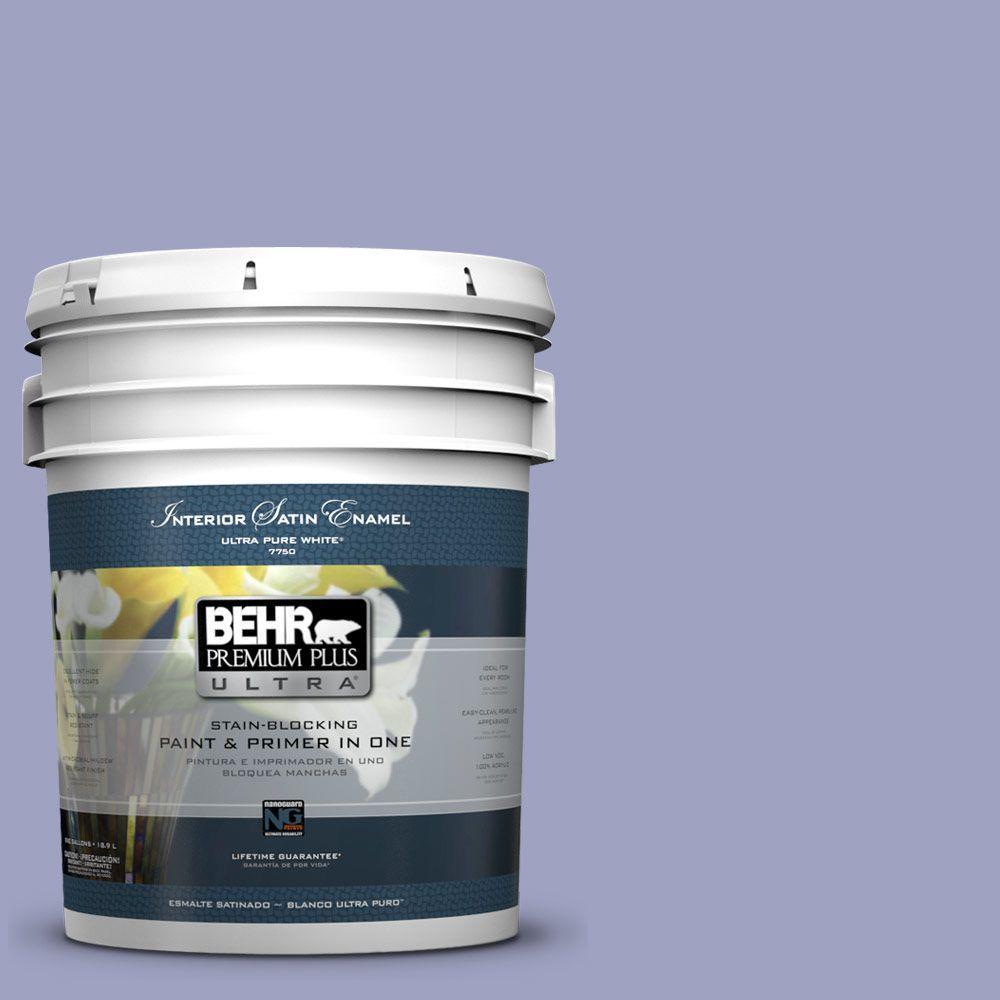 BEHR Premium Plus Ultra 5 gal. #630D-4 Ruffled Iris Satin Enamel Interior Paint and Primer in One