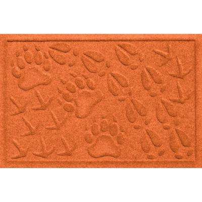 Aqua Shield Animal Tracks Orange 17.5 in. x 26.5 in. Pet Mat