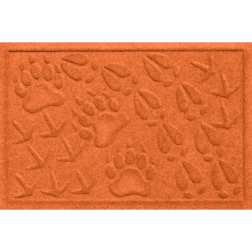 Bungalow Flooring Aqua Shield Animal Tracks Orange 17.5 in. x 26.5 in. Pet Mat