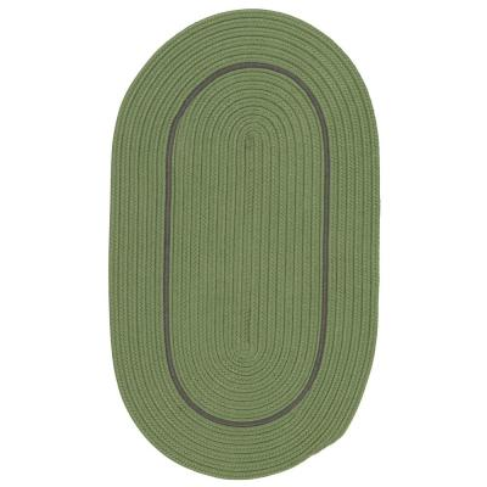 Amber Rhodes Green 7 ft. x 9 ft. Solid Indoor/Outdoor Oval Area Rug