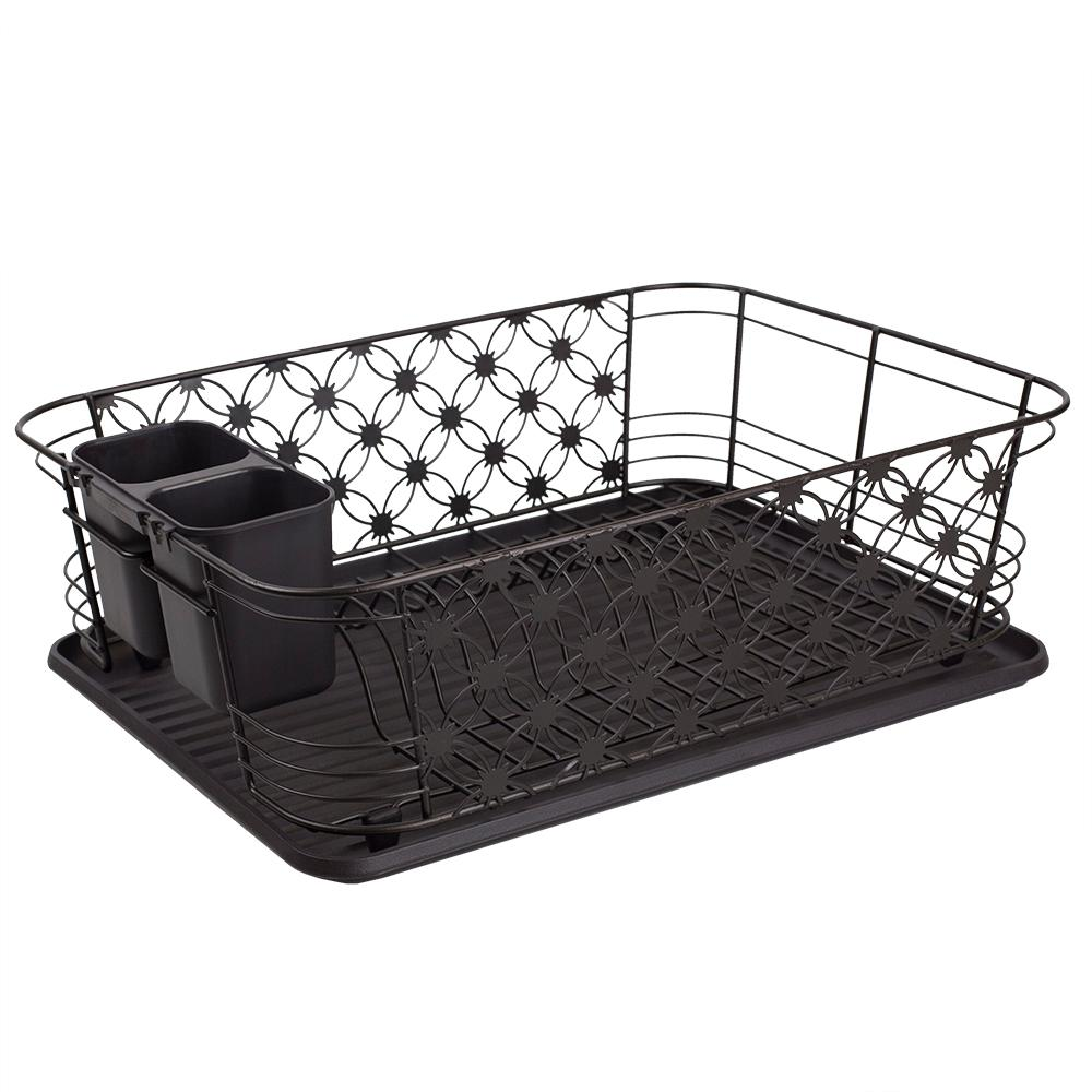 3-Piece Black Decorative Wire Dish Rack