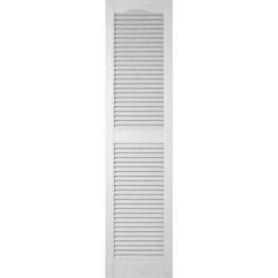 12 in. x 39 in. Lifetime Vinyl Standard Cathedral Top Center Mullion Open Louvered Shutters Pair White