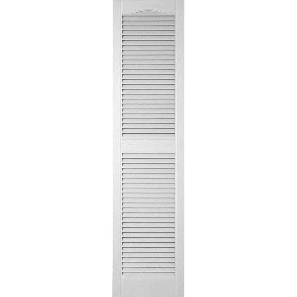 Ekena Millwork 14 1 2 In X 71 In Lifetime Vinyl Custom Cathedral Top Center Mullion Open Louvered Shutters Pair White Ll1c14x07100wh The Home Depot