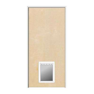 32 in. x 80 in. 1-3/4 in. Thick Flush Left-Hand Solid Core Unfinished Birch Single Prehung Interior Door with Pet Door
