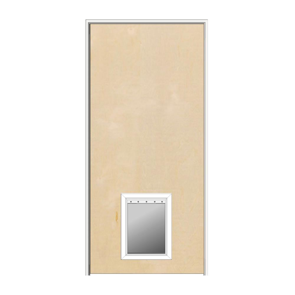 Thick Flush Right-Hand Solid Core Unfinished Birch Single Prehung Interior Door with Pet Door  sc 1 st  Home Depot & MMI Door 36 in. x 80 in. 1-3/4 in. Thick Flush Right-Hand Solid Core ...