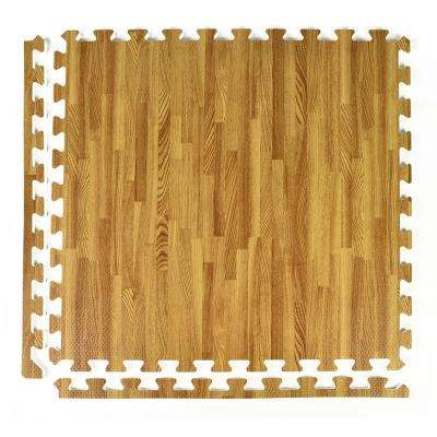 FoamFloor Light Wood Grain Design 2 ft. x 2 ft. x 1/2 in. Foam Interlocking Floor Tiles (Case of 25)