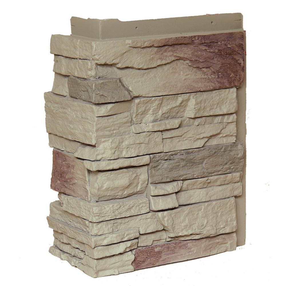 NextStone Country Ledgestone Teton Buff 10.25 in. x 3.5 in. Faux Stone Outside Corner (4-Pack)