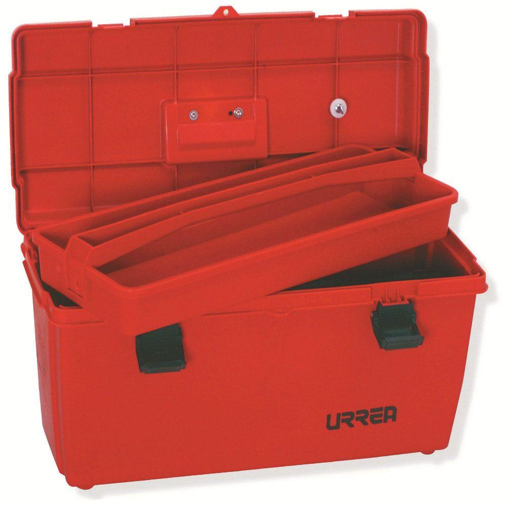 URREA 23 in. Plastic Red Tool Box with Metal Clasps