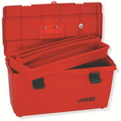 23 in. Plastic Red Tool Box with Metal Clasps