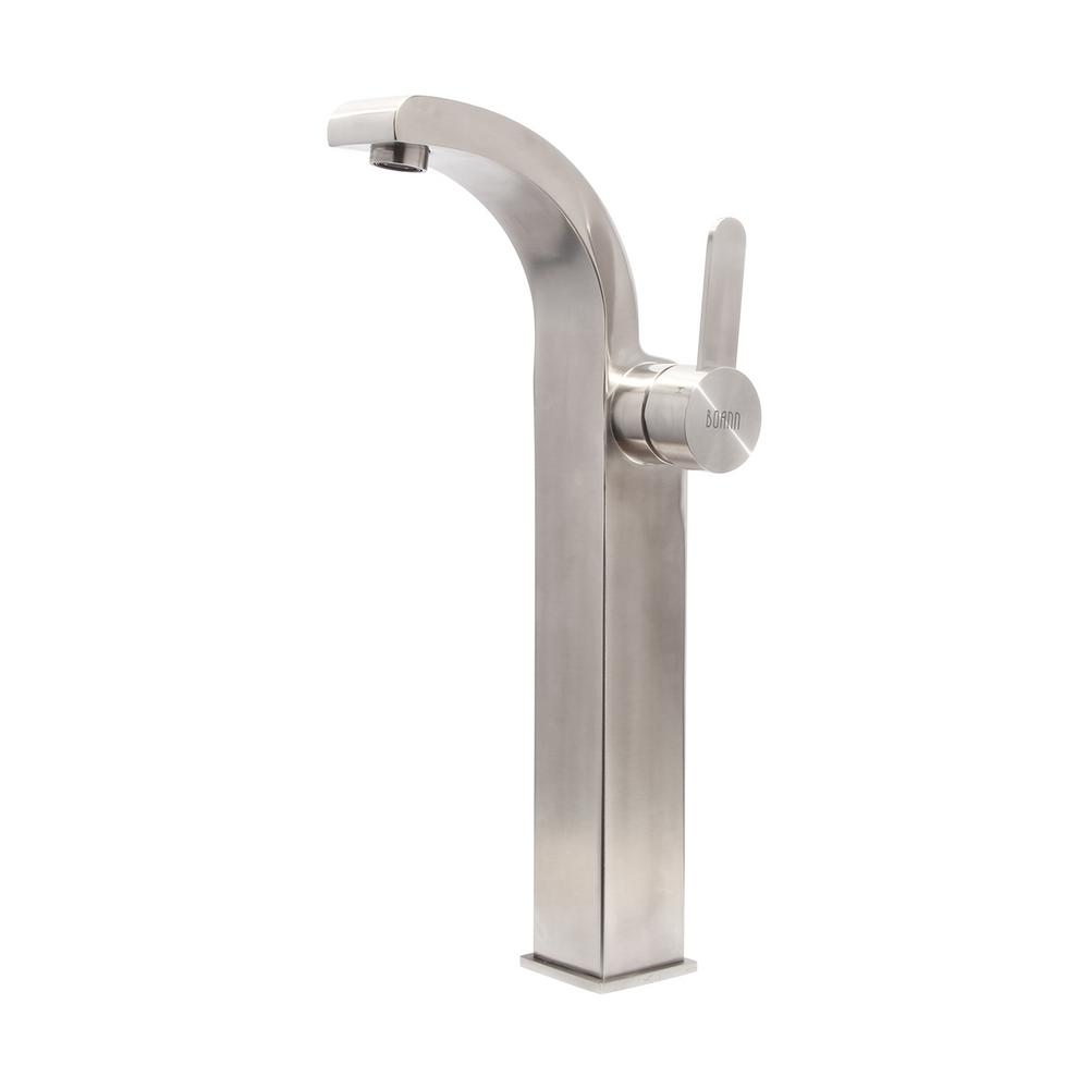 BOANN 15 in. Single Hole Single-Handle Vessel Bathroom Faucet in Stainless Steel