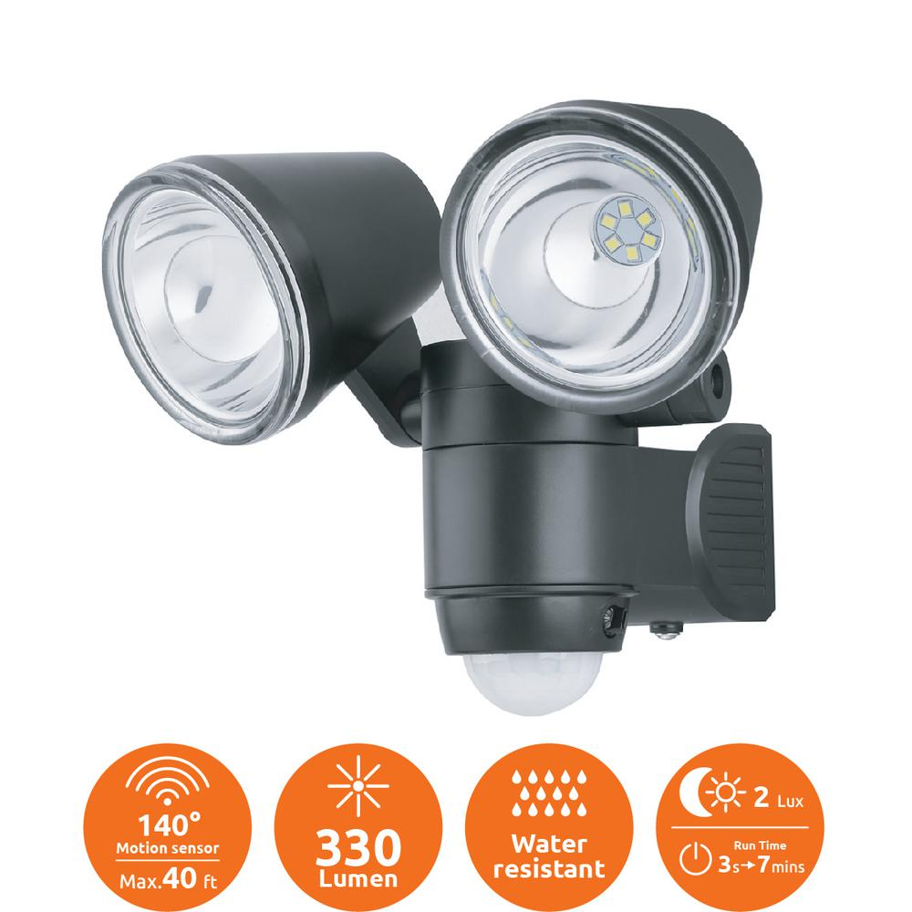Link2home Super Bright Black 330 Lumen Motion Activated Outdoor Dual Head Led 6500k Battery Ed