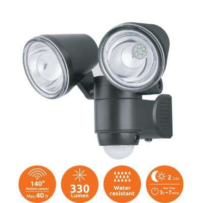 Super Bright Black 330-Lumen Motion Activated Outdoor Dual Head LED 6500K Battery Powered Landscape Flood Light